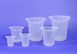 Disposable/Reusable Tri-Pour Graduated Beakers