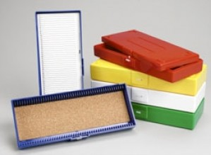 50-place microscope slide boxes